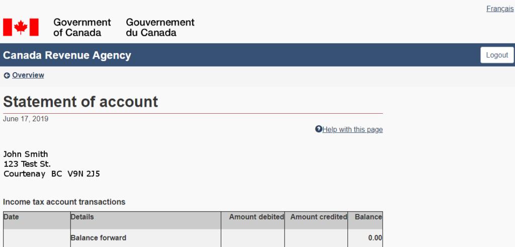 Cra Statement Of Account Mackenzie Gartside Associates